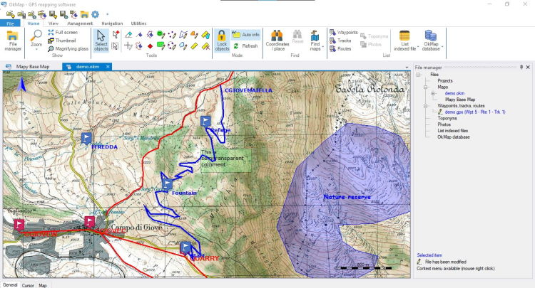 OkMap Desktop, a GPS cartographic software for Windows